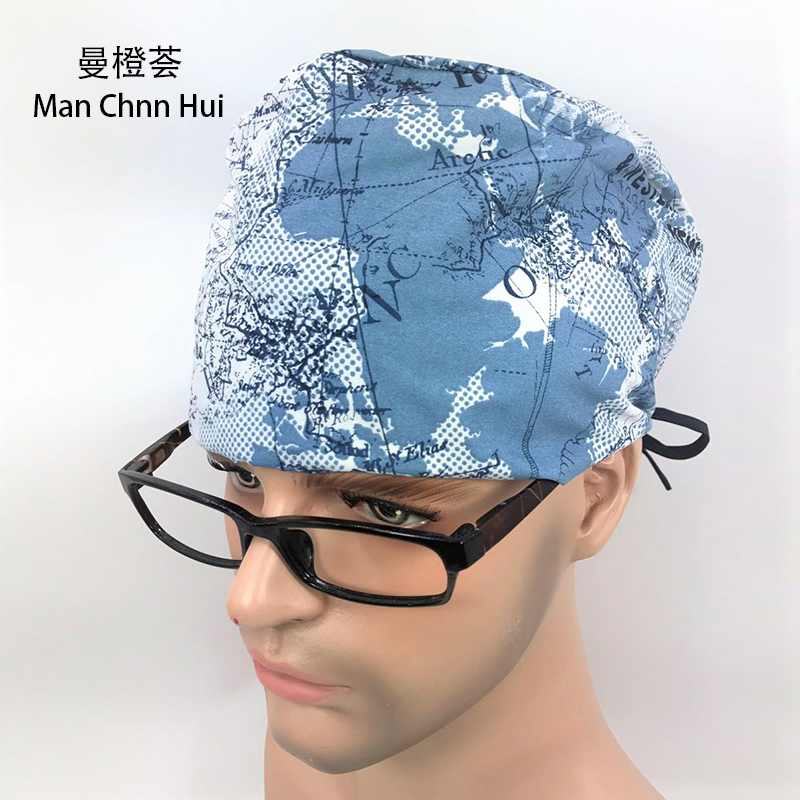 Lab Hospital Unisex Medical Surgical Cap 100% Cotton Printed Medical Scrub Operation Caps Adjustable One Size Map