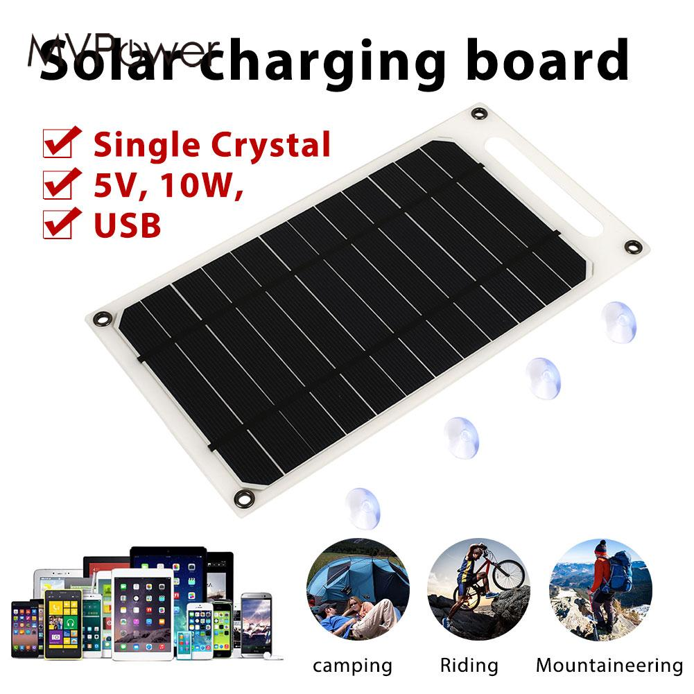 Durable Solar Generator Solar Panel Solar Charger Panel Camping Phone Charger Climbing USB Port 5V 10W Monocrystalline Silicon