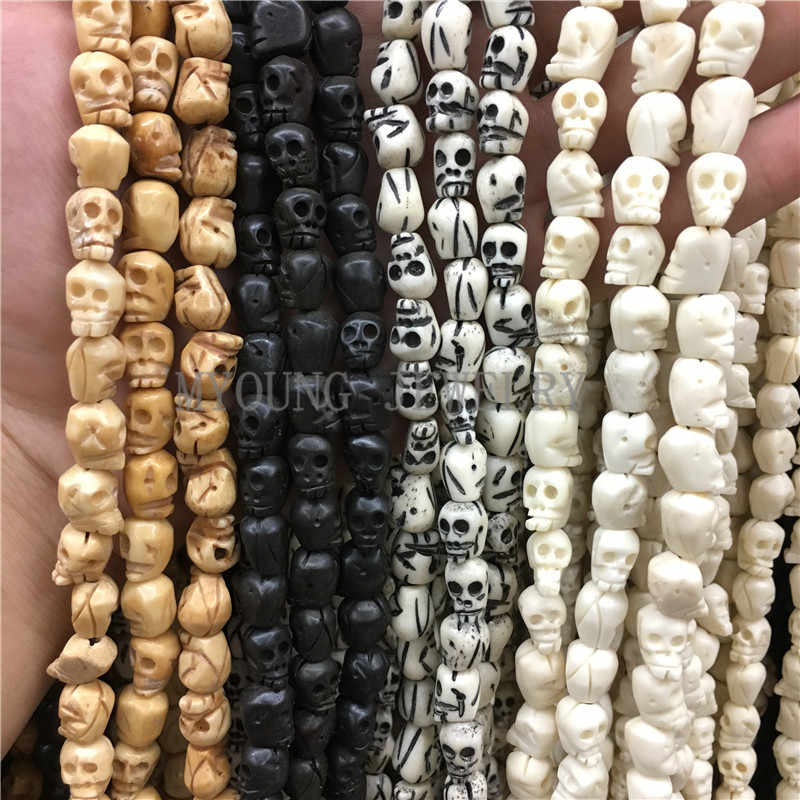 "10x9mm Multi Color Skull Carved Bone Beads,Skull Head Shape Drilled Beads,OX Bone Beads 15"" Strand About 40Pcs/Lot MY0760"