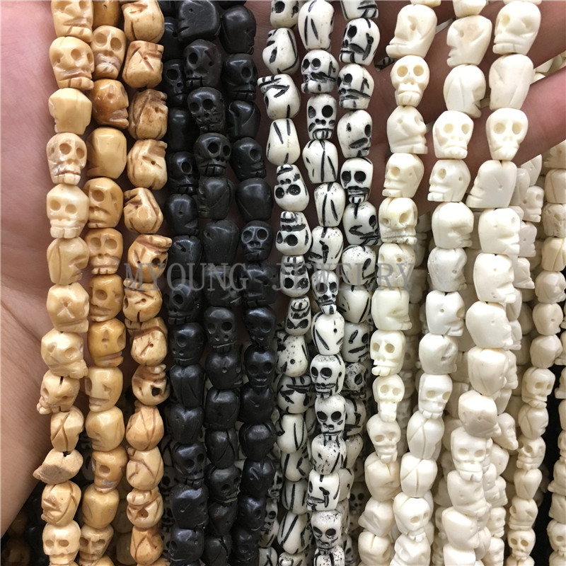 10x9mm Multi Color Skull Carved Bone Beads,Skull Head Shape Drilled Beads,OX Bone Beads 15 Strand About 40Pcs/Lot MY0760 cool skull style ox bone bracelets 2 pack