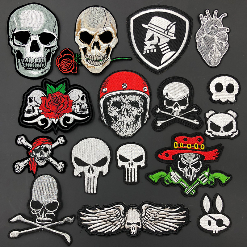 Skull Embroidery Patch Clothes Decorative DIY Biker Iron on Patches for Clothing Sewing Stickers Fabric Badges Applique Fastso Детская кроватка