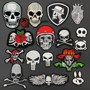 Skull Embroidery Patch Clothes Decorative DIY Biker Iron on Patches for Clothing Sewing Stickers Fabric Badges Applique Fastso ヒステリック ミニ 高 画質