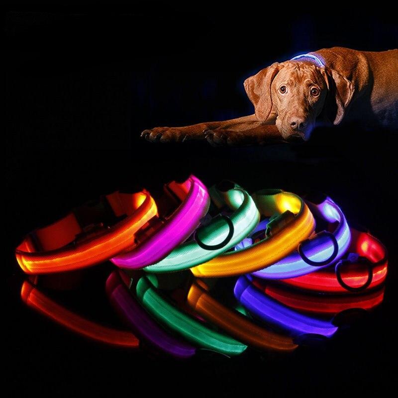 Nylon Pet Dog Collar LED Light Night Safety Light-up Flash Glowing in Dark Cat Collar LED Dog Collars Small Dogs Dog Accessories