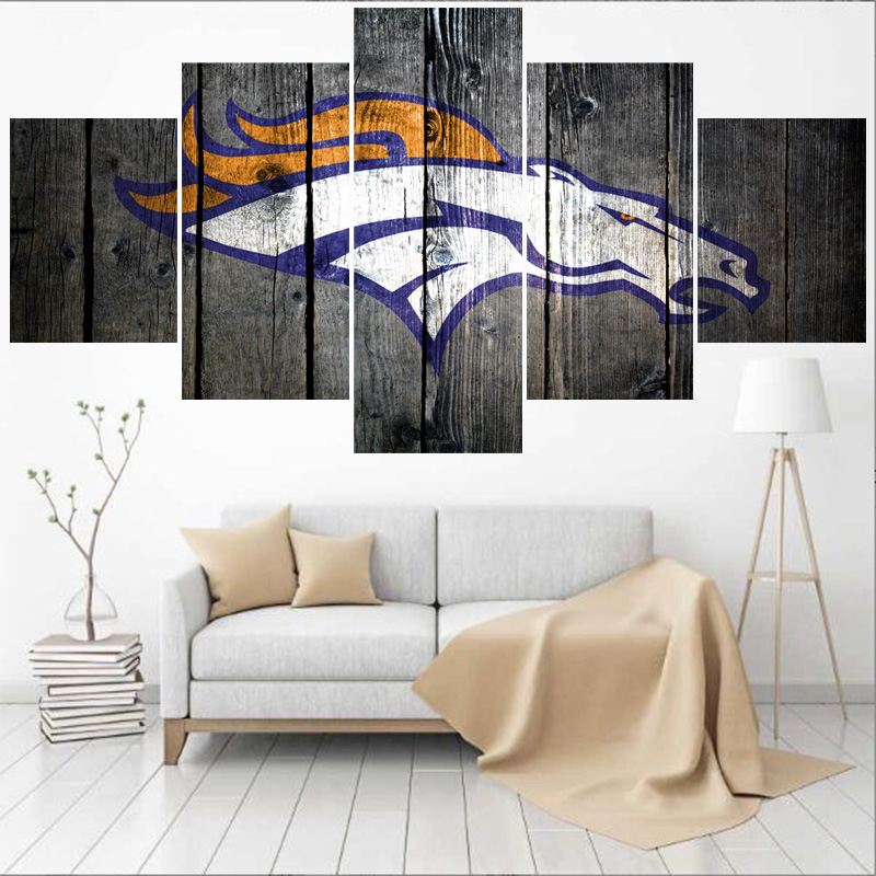 5 Panels Denver Broncos Animal Logo Paintings Wall Art
