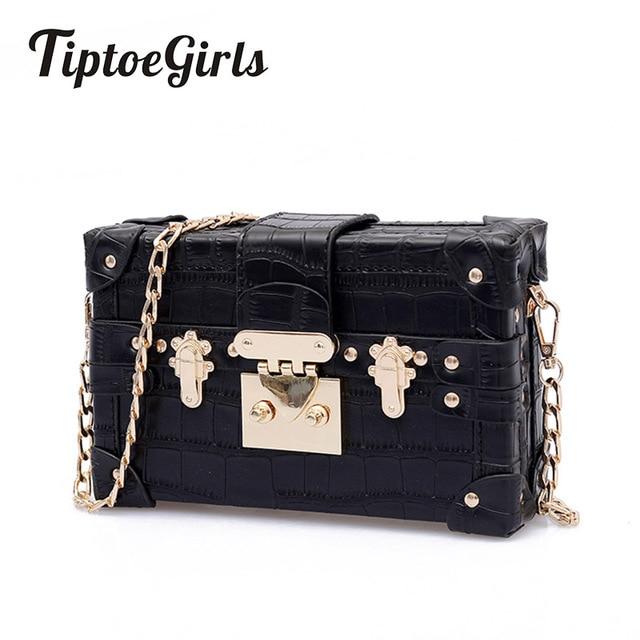 Small Chains Women Box Bags Black Leather Female Handbags Ladies Clutch Retro Women Messenger Bags Panelled Rivet Shoulder Bag