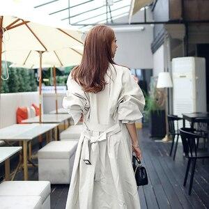 Image 5 - Новое поступление, высококачественный Женский модный Удобный свободный Тренч трапециевидной формы, профессиональный темпераментный теплый длинный Тренч