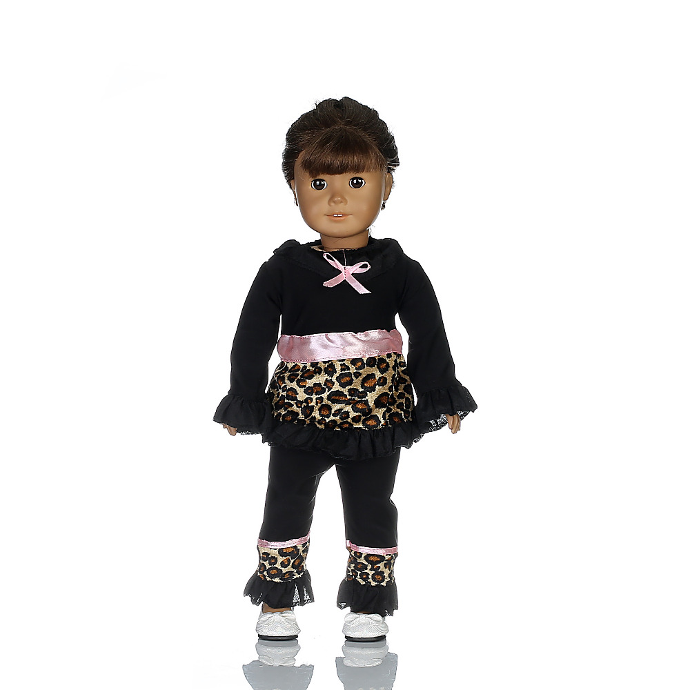 2016 New style Popular 18 inch American girl doll black pajamas clothes/dress for Christmas gift