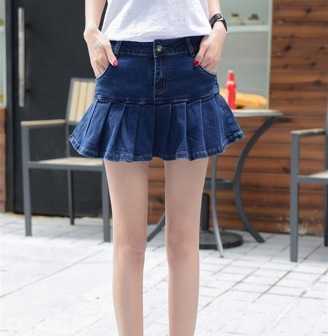 super populaire 63617 17c0b € 15.45 20% de réduction|Été nouveauté denim jupe à volants femme élastique  slim grande taille à volants jupe plissée jupe courte dans Jupes de Mode ...