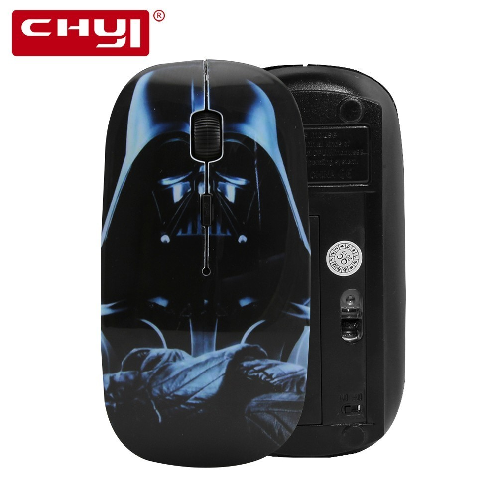 CHYI Wireless Mouse Ergonomic 2.4G 1600DPI StarWars Darth Vader Sith Lord Star War Ultrathin Mice with Wrist Rest Mouse Pad Kit
