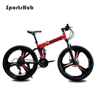 SPORTSHUB 21 24 27 Speed 24 26 Inches Carbon Steels Road Bicycle Folding Frame Mountain Bike