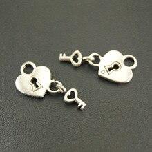 10 шт. античное серебро сердце замок и ключ Шарм браслет ожерелье для изготовления украшений вручную DIY A592