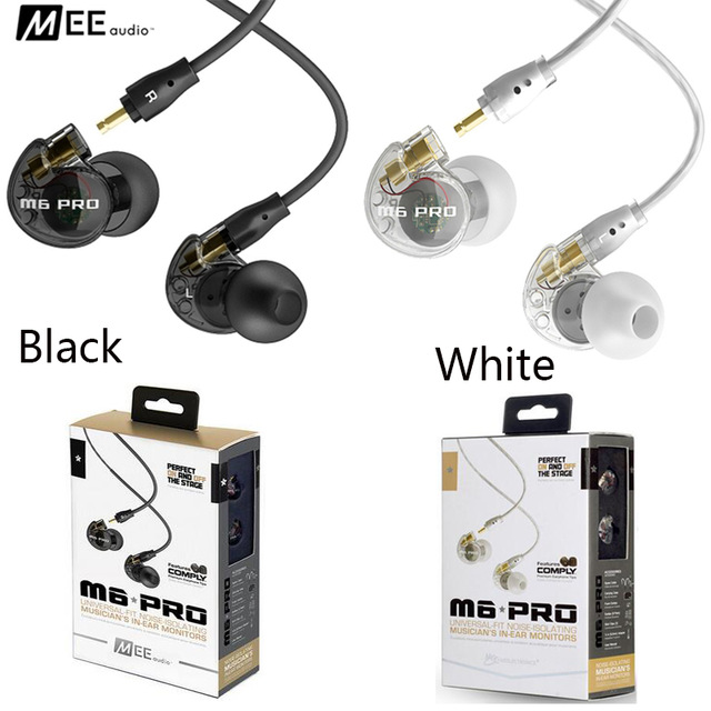Low Price MEE Audio M6 PRO Noise Isolating Music In Ear Headsets Black/White Universal Fit Wired Earphones With Retail PK SE215 new wired earphone mee audio m6 pro universal fit noise isolating earphones musician s in ear monitors headset good than pb3 pb