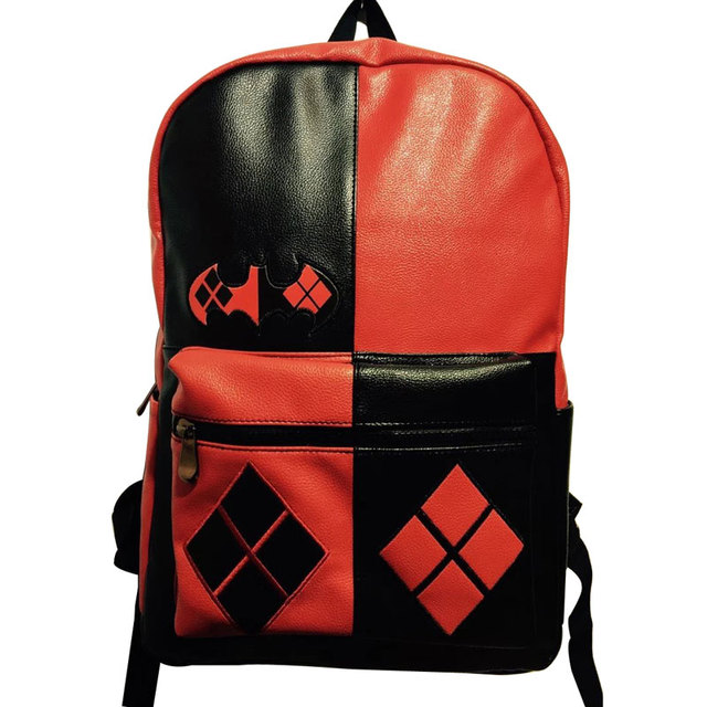 54216341f30d Anime Suicide Squad Leather Backpacks Lovely Cartoon Deadpool Printing Students  School Bag mochila Cool Style Men Women Backpack