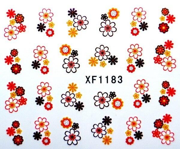 Moda hermosa transferencia de agua de diapositivas hoja del clavo etiquetas engomadas del clavo herramienta de diseño naranja rojo Sun flower XF1183