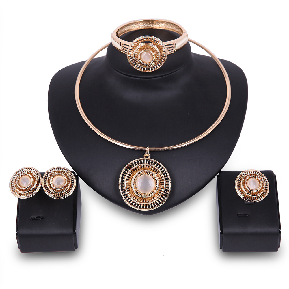Necklace Earrings Ear Studs Bracelet Ring Banquet Fashion Wedding Jewelry Set