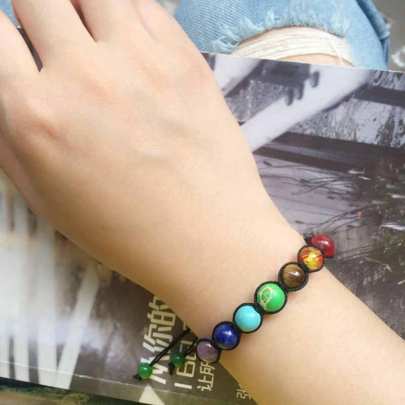 2019 Новая мода женщин вулкан Лава баланс бисера рейки натуральный камень браслет