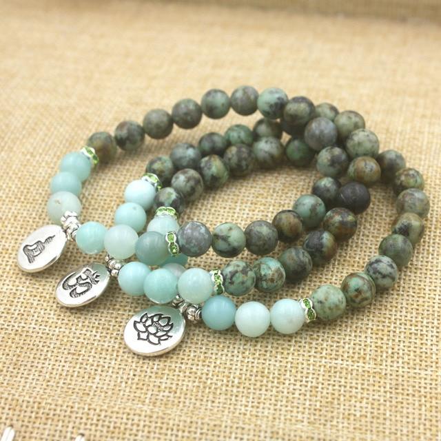 Bracelet Bouddhiste Femme Porte Bonheur pierre naturelle