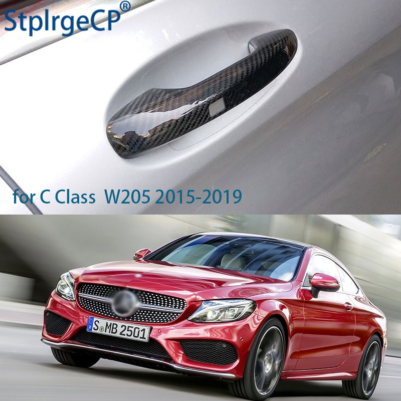 100% Real Carbon Fiber Auto Outer Door Handle Cover for Mercedes Benz C Class W205 2015 2016 2017 2018 2019 Car Styling