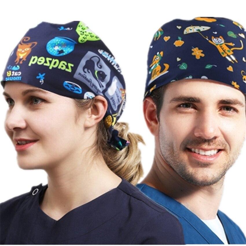 7Color Surgical Cap Medical Uniforms Dentist Work Hat Pet Hospital Doctor Nurse Print Cartoon Clothes Adjustable Medical Cap