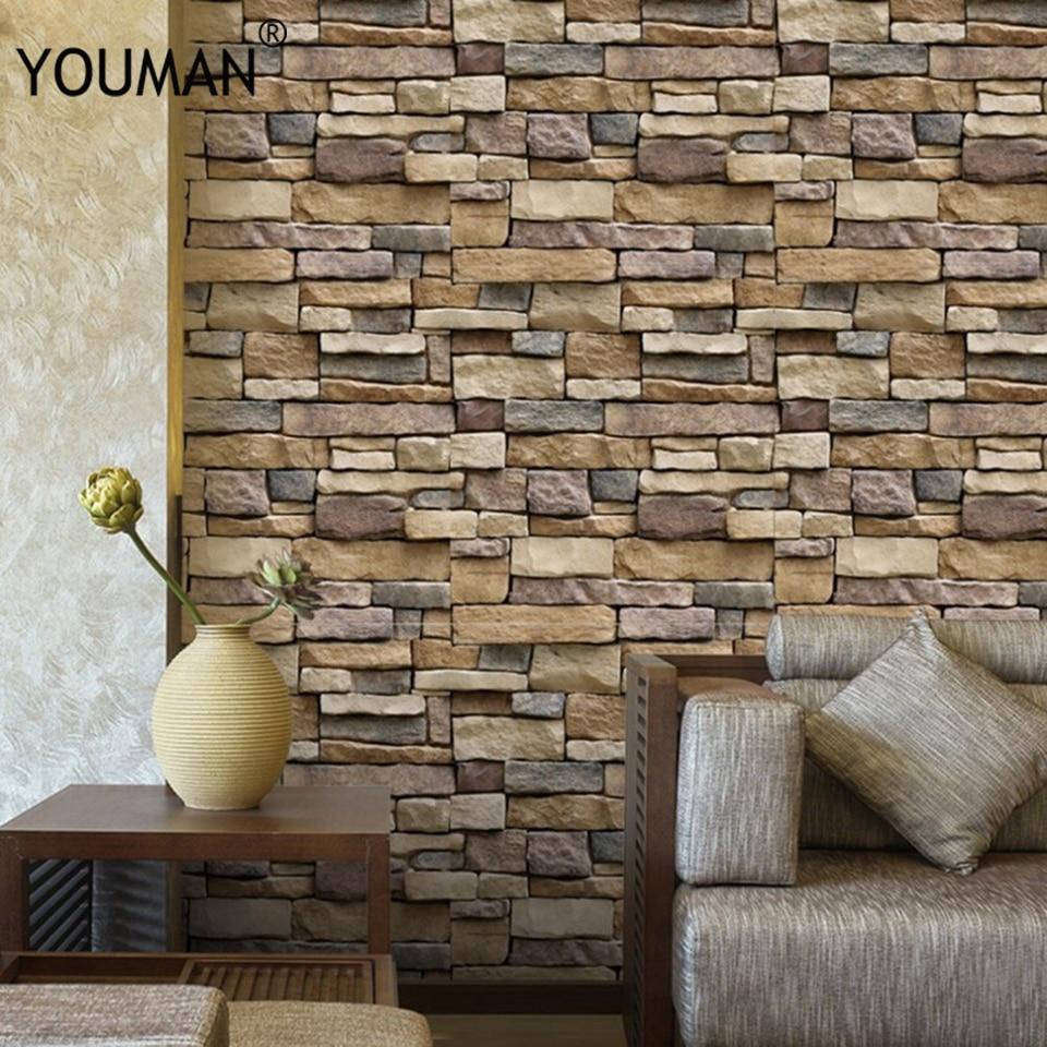 Vintage Stone Brick Wallpaper 3D Brick Stone Wall Sticker Rustic Effect Self adhesive Wall Sticker Home Decoration 45x1000cm