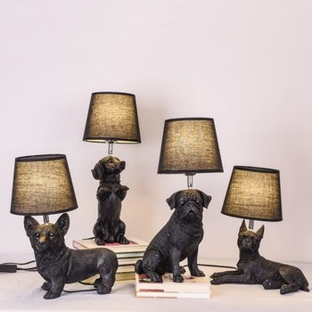Black White Puppy Table lampAnimals Bedroom bedside lamp Livingroom Dogs Table Lamps abajur para quarto Deco lighting fixtures
