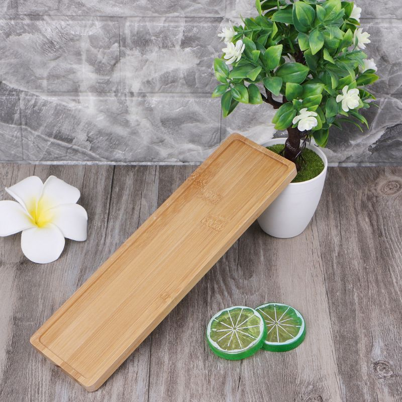 Rectangle Bamboo Wood Saucer Plant Tray Mini Flower Pot Stand Favor Succulent Simple Elegant Home  Balcony Decor