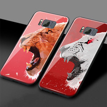 Creative doodle lion Animal aesthetics Glossy Tempered Glass Phone Case Shell cover For Samsung galaxy s8 s9 plus note 8 note 9