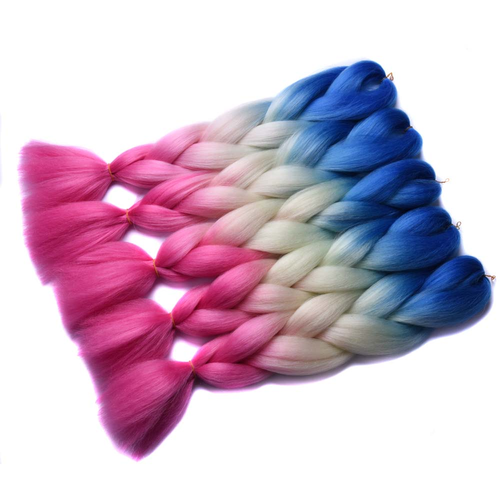 "Full Star Pink Ombre Yellow Blue Braiding Hair Three Tone High Temperature Fiber 10 pcs 24 "" 100g Corchet Braid Synthetic Hair"