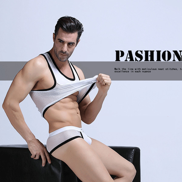 Men's Wholesale Vest Cultivate Sexy Male Render Inner Underwear Leisure Knitting   Tank     Tops  (not Include Boxers)