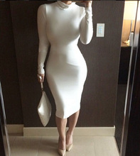 Turtle Neck Long Sleeve Pencil Dress, Slim Hip Bodycon Dress