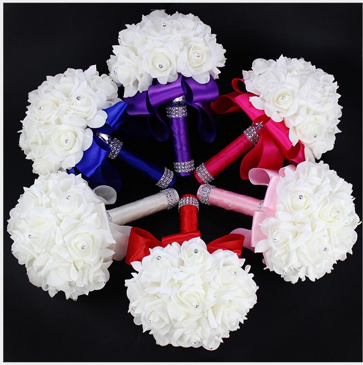 Aliexpress buy white red pink blue beautiful wedding bouquet aliexpress buy white red pink blue beautiful wedding bouquet all handmade bridal flower wedding bouquets artificial pearls flower rose bouquet from mightylinksfo