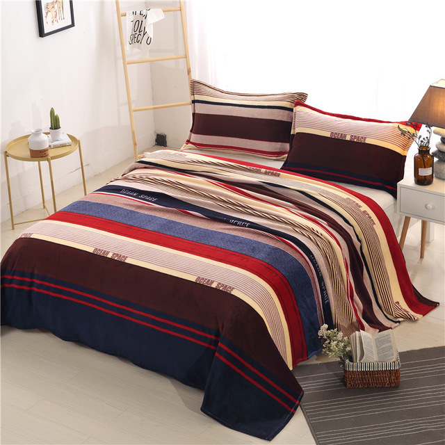 1 Piece Soft Flannel Bedding Sheet Cute Comfortable Warm Blankets Beautiful  Printed Flat Bed Sheets 24