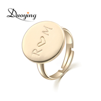 DUOYING Gold Custom Ring Engraving Name Personalized Ring Handmade Adjustable Jewelry Ring For Women Friends Initial