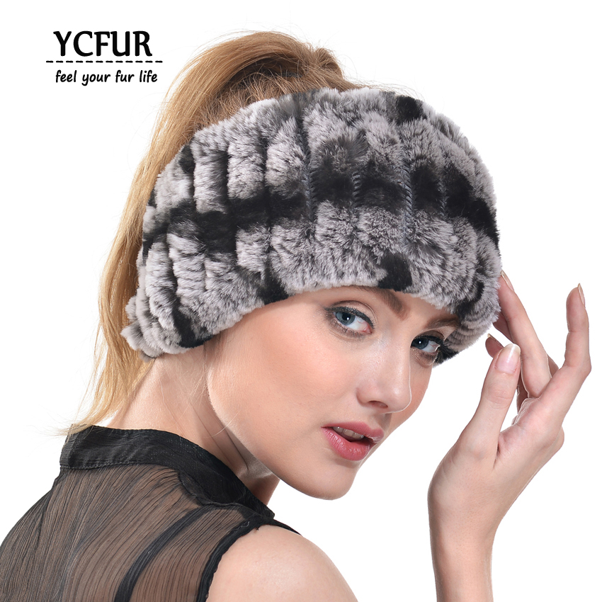 YCFUR Fashion Women Headband Handmade Knit Genuine Rex Rabbit Fur Headbands Girls Natural Fur Scarves Winter