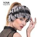 YCFUR Moda Feminina Headband Handmade Genuine Malha Rex Rabbit Fur Headbands Meninas Lenços De Peles Naturais Inverno YSC116