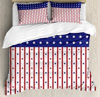 USA Duvet Cover Set , American Flag with Stars and Stripes Nationality Independence Day Theme, 4 Piece Bedding Set