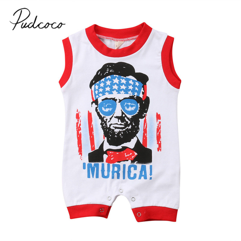 2018 Brand New Fourth Of July Summer Toddler Baby Boys Casual Handsome Romper Letter Romper Sleeveless Flag Jumpsuits 0-24M