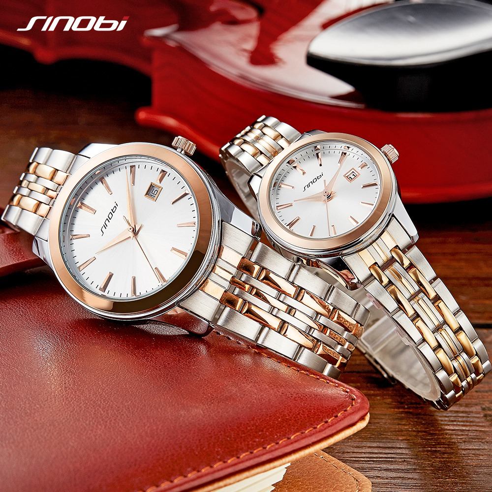 Sinobi Couple Watch Mens And Women Watches Luxury Brand Quartz Sweet Lovers Watch Gift Erkek Kol Saati Relogio Masculino