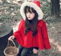 2015 invierno primavera moda niños del bebé patrón de algodón rojo con capucha niñas chaquetas de la Capa del cabo cabo capas de la niña de navidad ropa