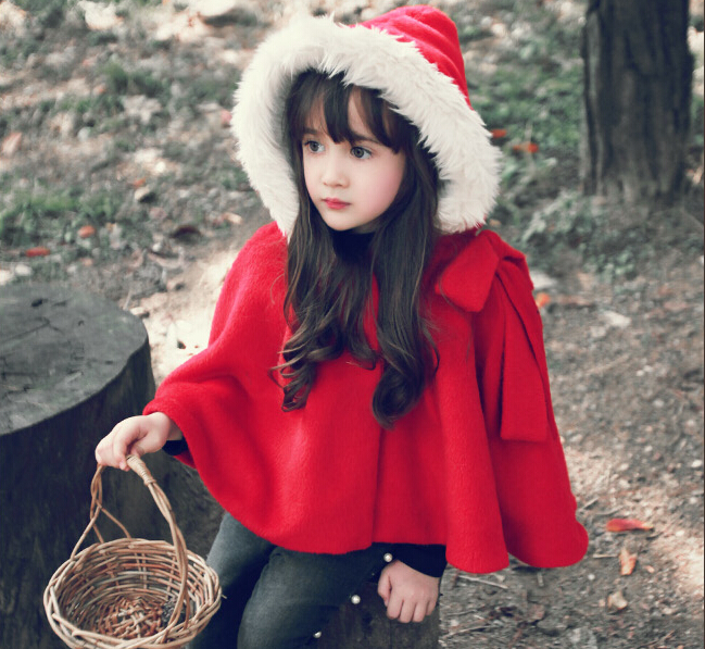 2017 Winter Spring Fashion Kids Baby Cape Pattern Red