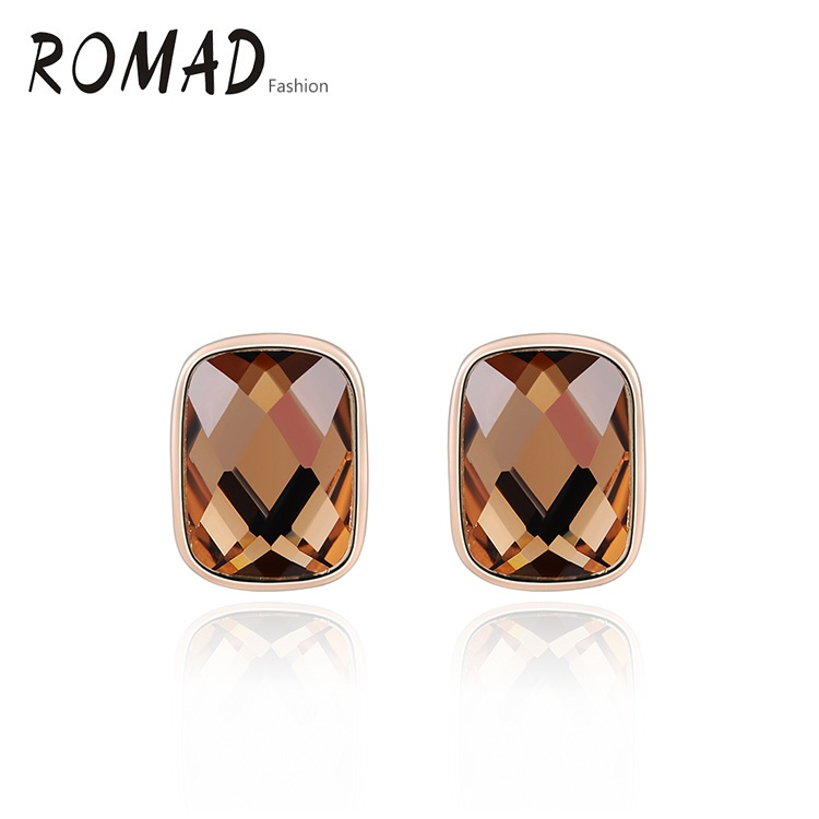 ROMAD Brown Stone Square Earrings Genuine Austrian Crystals Rose Gold Color Fashion Women Stud Earrings
