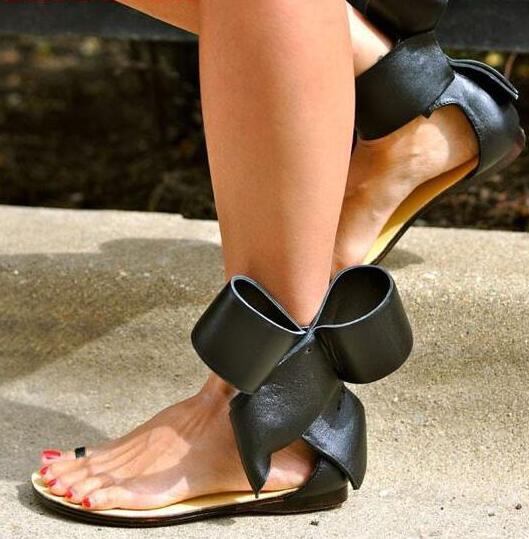 Sandalia feminina summer gladiator flat sandals big bow ankle strap low heels open toe black red