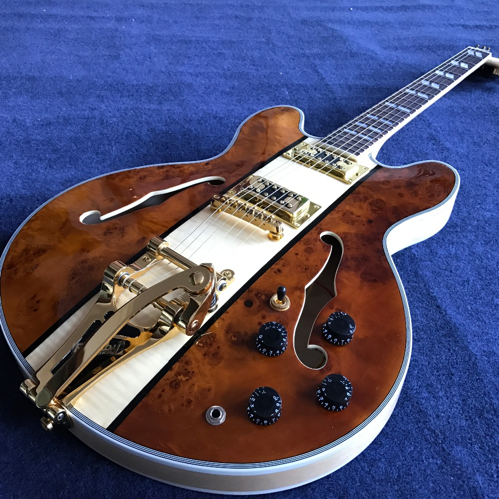 Best Electric guitar,jazz Jazz Guitar,Semi Hollow Body Guitar with Tremolo, Spalted+Flame Maple Top,Gold Hardware