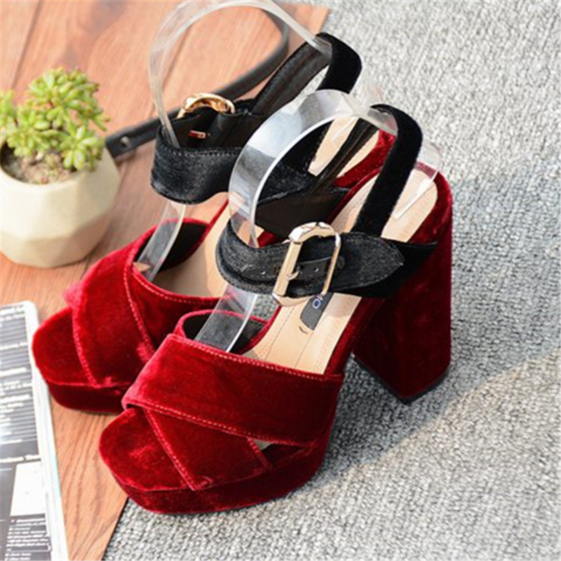 Hot Flock Shoes Women Summer Sweet High Heels Sandals PLatform Pumps Buckle Strap Shoes Green Red Black Sandalias Casual Party xiaying smile summer new woman sandals platform women pumps buckle strap high square heel fashion casual flock lady women shoes