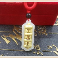 New Arri 24K Yellow Gold & Grade A Hetian Jade Six word Mantra Pendant 35*13mm