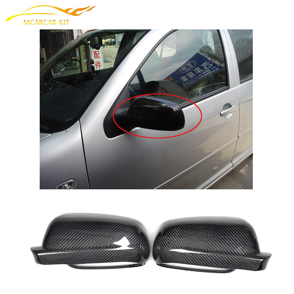 Replacement style carbon fiber mirror cover caps for volkswagen vw golf 4 iv mk4 1997