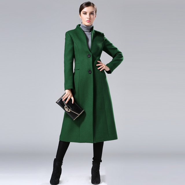 2017 New Fashion Winter Coats Women Europe Long Jacket Green Wool ...