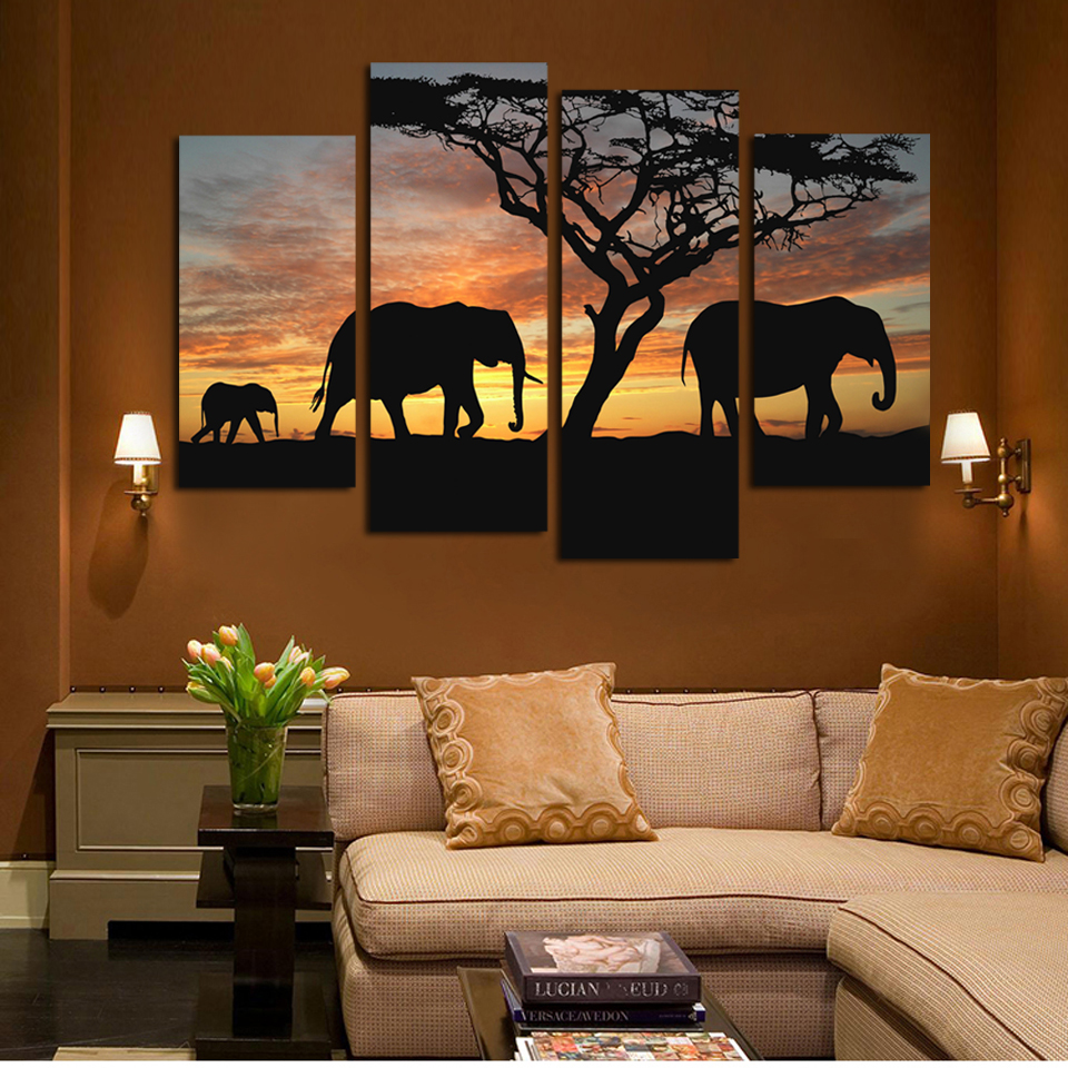 4 Panels Elephant In Sunsetting Print Canvas Painting For