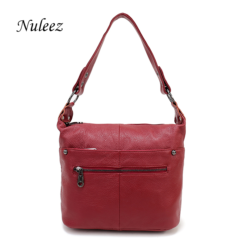 Nuleez Brand Shoulder Strap Genuine Leather Bag Hobo Shoulder Handbags Women Leisure Red Blue Black Crossbody Messenger Bag 3104