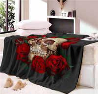 Cobertor de nap super macio aconchegante veludo cobertor de pelúcia lance crânio floral linha moderna arte sherpa cobertor para o sofá lance viagem cb68